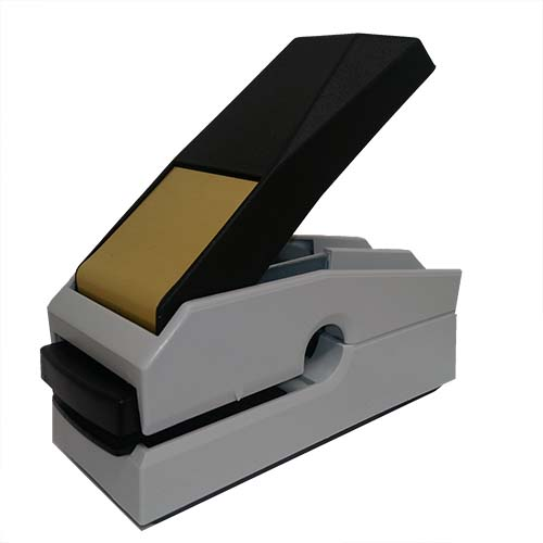 This award-winning, Canadian-made seal embosser is designed to create a lasting raised notary impression on any kind of paper with ease and comes with a life-time replacement guarantee. This Indiana notary seal embosser is designed to allow embossing anywhere on a document where a standard embosser cannot reach. Creates notary seal impressions of 1-5/8 inches.