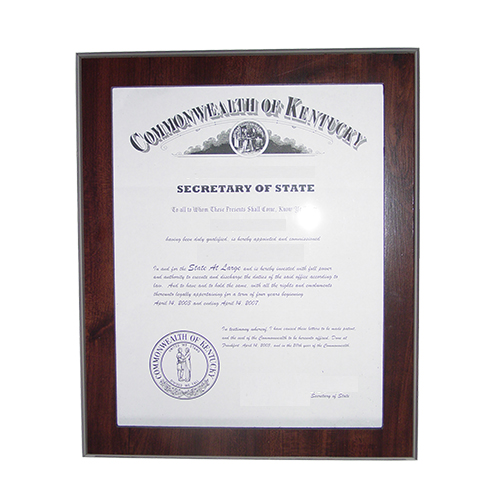 This 11 x 8-1/2 elegant cherry wood finish Indiana notary certificate frame makes an attractive addition to any office. Simply slide your Indiana notary certificate in from the side. No need for nails or screws. Designed to fit 8-1/2 x 11 inch certificates. We can also custom make a frame to fit any state's notary certificates. This Indiana notary certificate frame will Guard your Indiana notary commission certificate from damage with this elegant cherry wood finish frame that makes an attractive addition to any office.