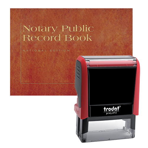 The Indiana notary supplies value package contains everything you need, in accordance with Indiana notary laws to perform your notarial duties correctly and efficiently. This notary supplies package includes Indiana notary stamp item and Indiana notary record Book. The notary stamp is available in several case colors and five ink colors, produces thousands of perfect and consistent notary stamp impressions, stamp-after-stamp, without the need for an ink pad or re-inking. The modern, ergonomic design of this stamp soft-touch exterior fits comfortably in your hand and with gentle pressure produces the sharpest Indiana notary stamp impression with ease. An index label allows you to quickly identify your notary stamp and ensures a right-side-up impression. A clear base positioning window guarantees accurate placement of your notary stamp on documents. With the click of a button, the ink pad - which is built into the notary stamp - can easily be accessed for changing or refilling.