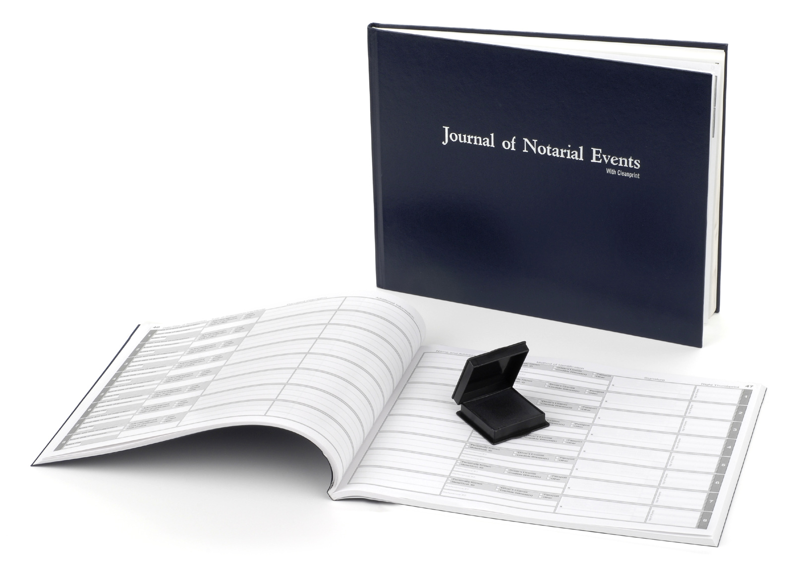 Indiana Hard Cover Notary Journal with Inkless Thumbprint Pad